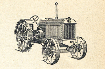 Mini tractor, vintage engraved illustration