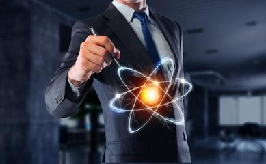 Atom molecule icon       . Mixed media