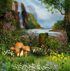 Enchanted Garden by a Waterfall