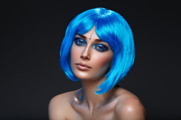 Beautiful girl in blue wig