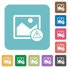 Image warning rounded square flat icons