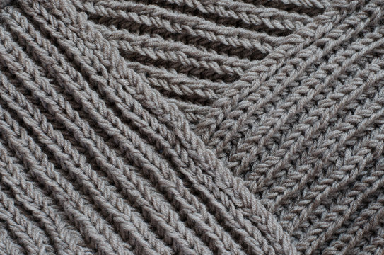 The texture of a knitted woolen fabric