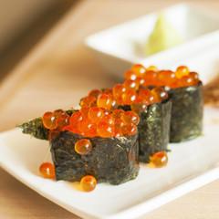 Fresh Salmon eggs sushi