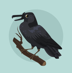 Black crow character sitting on branch. Vector flat cartoon illustration