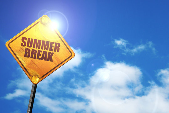 summer break, 3D rendering, traffic sign