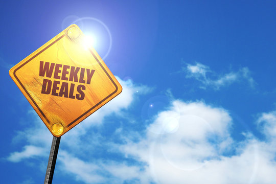 weekly deals, 3D rendering, traffic sign