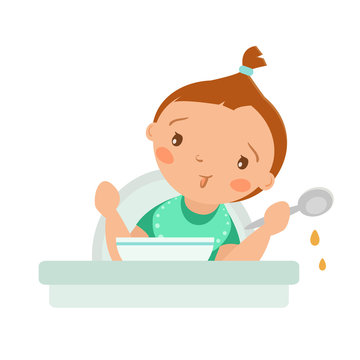 Vector little baby girl with spoon and plate. Illustration isolated on a white