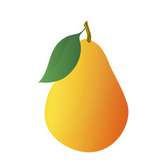 Cartoon yellow pear with leaf. Vector illustration.