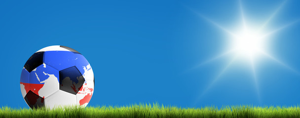 russian soccer ball at sunny sky on green grass 3d render