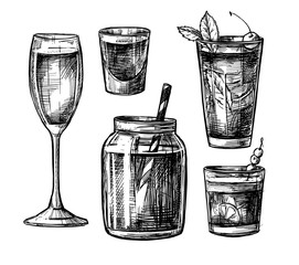 Hand drawn vector illustration - Collection of alcoholic and non-alcoholic cocktails. Design elements in sketch style. Perfect for brochure, cafe flyer, bar menu and restaurant menu