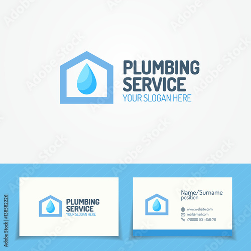 Plumbing Service Logo Set With House And Water Drop And Business