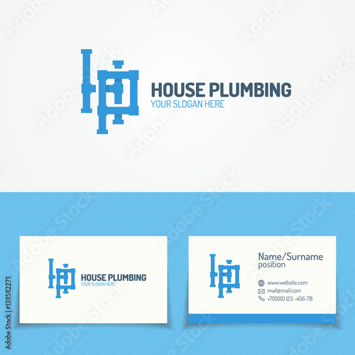 Plumbing Service Logo Set With Pipelines And Business Card For Used