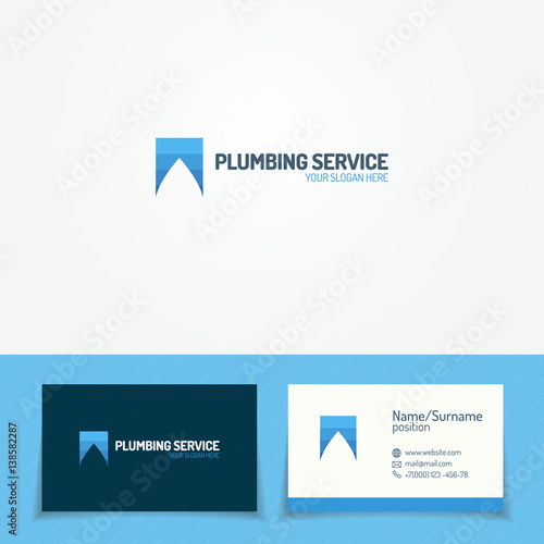 Plumbing Service Logo Set With Water Drop And Business Card For Used