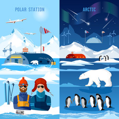 Travel to Antarctica banners. Scientific station on North Pole.  Arctic and Antarctic tourism