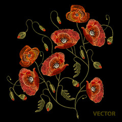 Embroidery beautiful poppies. Decorative floral embroidery elegant flowers