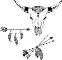 Beautiful boho elements . bufflo skull, arrows, feathers and flowers