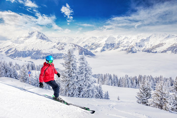 Wall Mural - Trees covered by fresh snow in Tyrolian Alps from Kitzbuhel ski resort, Austria