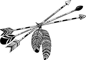 Tribal arrow in ethnical pattern with feathers and wild flowers