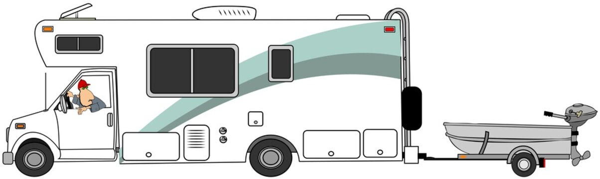 Illustration of a man driving a class c motorhome and towing a small aluminum fishing boat.