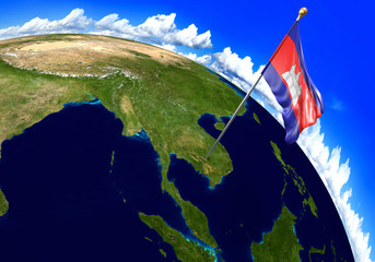 Cambodia national flag marking the country location on world map. 3D rendering, parts of this image furnished by NASA