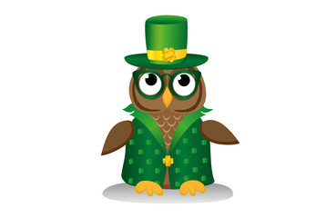 Owl in traditional green suit and glasses on the day of Patrick.