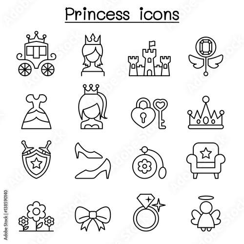 Princess icon set in thin line style