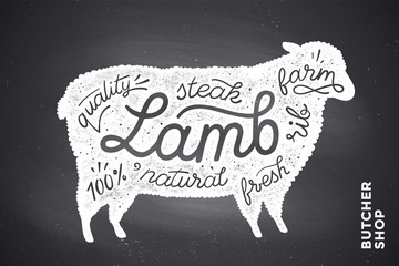 Trendy illustration with red lamb silhouette and words Lamb, fresh, steak, natural, farm. Creative graphic design for butcher shop, farmer market. Poster for meat related theme. Vector Illustration