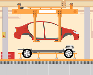 Car assembly at the factory. Installation a body on the chassis. Vector illustration