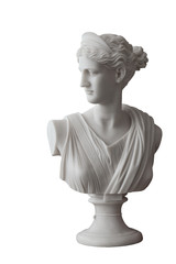White head marble statue of roman Ceres or greek Demeter isolated on white