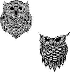 OWL vector handdrawn set illustration in zentangle style