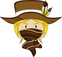 Cartoon Wild West Masked Cowgirl