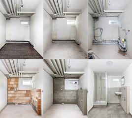 Obraz Sanierung eines Badezimmers - fototapety do salonu