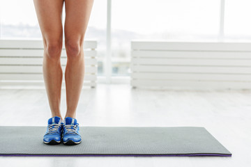 Shapely legs of active woman