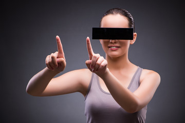 Young woman with virtual reality glasses