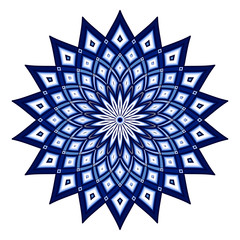 Vector Illustration - Bright Blue Mandala, Print, Pattern