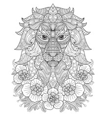 Lion and flower. Hand drawn sketch illustration for adult coloring book.