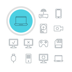 Vector Illustration Of 12 Laptop Icons. Editable Pack Of Antivirus, Access Denied, Smartphone And Other Elements.