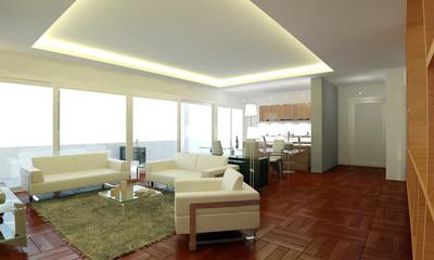 The interior design of living room apartment