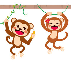 Two cute funny monkeys on liana sharing banana fruit with love