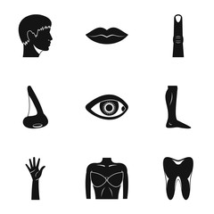Body icons set, simple style