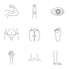 Human body icons set, outline style