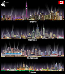 Canadian cities Toronto, Montreal, Vancouver and Ottawa abstract skylines at night with map and flag of Canada