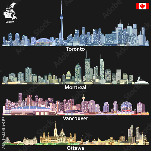 Map Of Canada Vancouver Toronto.Toronto Montreal Vancouver And Ottawa Skylines In Different Color
