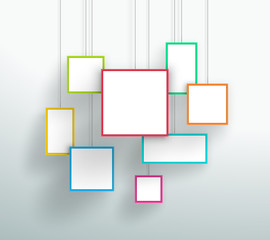 Vector 3d Simple Colorful Hanging Square Frames Design