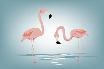 pink flamingos vector