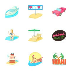 Tourism in Miami icons set, cartoon style