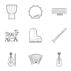 Musical tools icons set, outline style