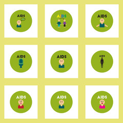 Vector icons collection various symptoms of AIDS on the human