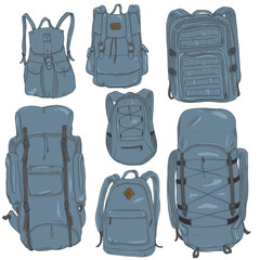 Vector Set of Cartoon Different Backpacks.