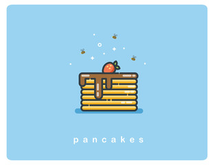 Vector flat icon of pancakes with chocolate syrup and strawberries